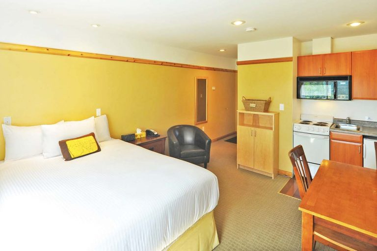 Elizabeth Lake Lodge room with queen bed